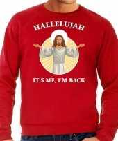 Hallelujah its me im back kersttrui outfit rood voor man
