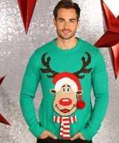 Kerstmis man trui groen met verlichting
