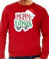 Merry fitmas kersttrui outfit rood voor man