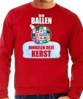 Rinkelende kerstbal sweater kersttrui mijn ballen rinkelen rood voor man