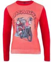 Rode kersttrui santa biker man